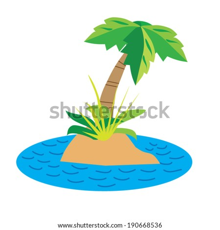 Island colorful vector illustration