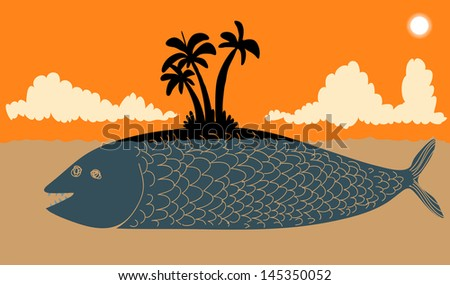 Island fish - stock vector