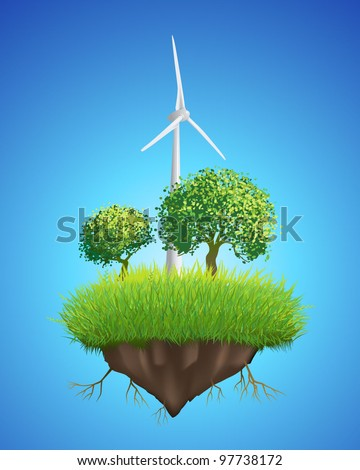 Island floating in the sky with wind turbine and trees - stock vector