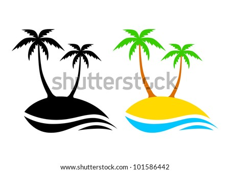 Island icons - stock vector