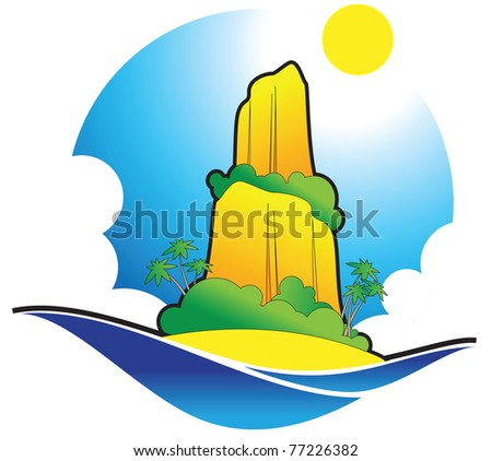 Island in the deep dark blue sea - stock vector