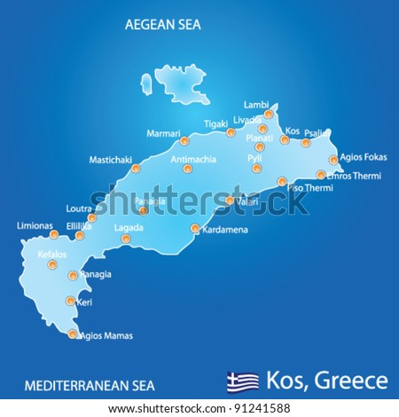 Island kos greece map on blue vectores en stock 91241588 shutterstock island of kos in greece map on blue background gumiabroncs Gallery