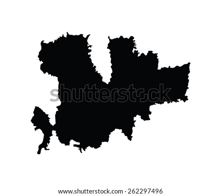 Island of Mykonos in Greece map, vector map isolated on white background. High detailed silhouette illustration.