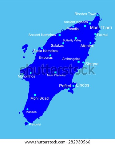 Island of Rhodes in Greece vector map  isolated on blue background. - stock vector