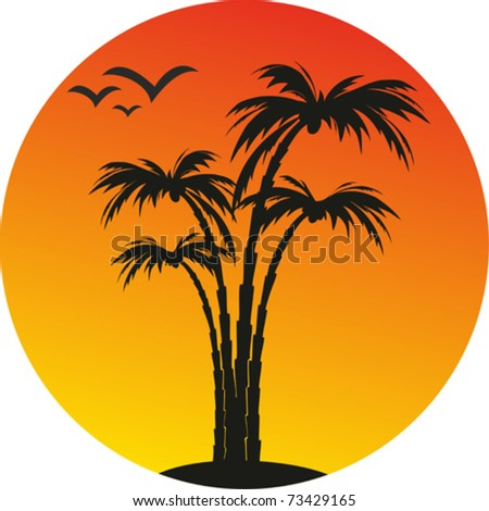 island, palms and sun. vector tropical background
