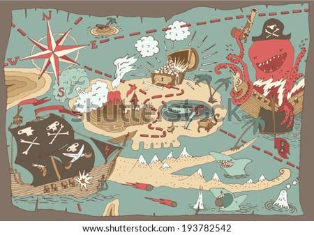 Island Treasure Map (pirate map), vector illustration, hand drawn - stock vector