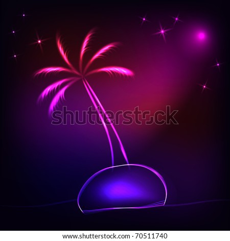 island with a neon palm tree at night - stock vector