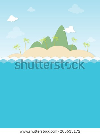 island with palm trees in the mountains - stock vector