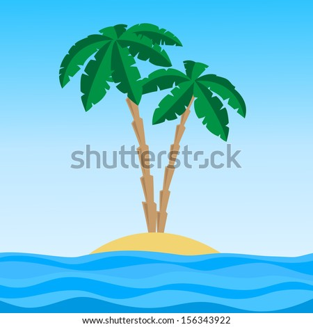 island with palms.vector illustration