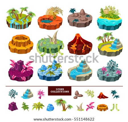 Islands of computer game isometric set with  trees and rivers, volcano landscape, waterfall and icons collection. Isolated vector illustration