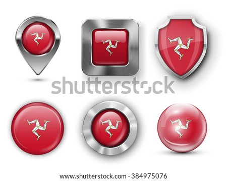 Isle of Man, Mann Metal and Glass Flag Badges, Buttons, Map marker pin and Shields. Vector illustrations - stock vector