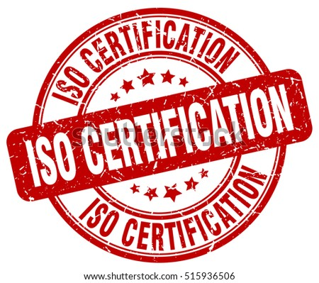 iso certification stamp.  red round iso certification grunge vintage stamp. iso certification
