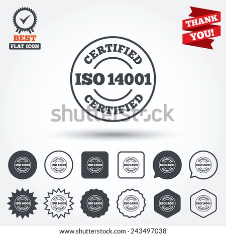 ISO 14001 Certified Sign Icon Certification Stock Photo (Photo ...
