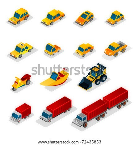 Iso icons: cars and vehicles - stock vector