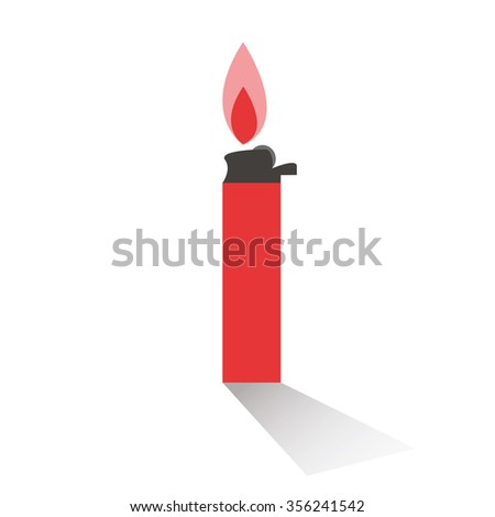 isolate burning lighter on white background