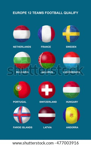 Isolate of 12 teams Europe football nation that design in flag icon in vector illustration. EPS10
