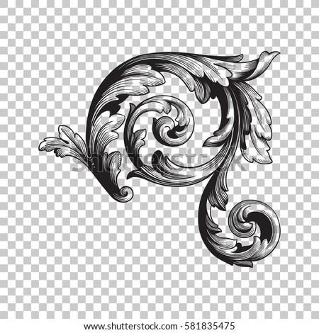 Isolate Vintage Baroque Ornament Retro Pattern Antique Style Acanthus Decorative Design Element Filigree Calligraphy Vector