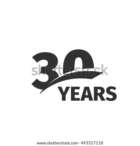 Isolated Abstract Black 30th Anniversary Logo Stock Vector 493317118