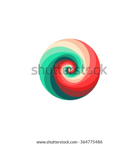 Isolated abstract vector spiral logo.Pink and turquoise spinning tornado icon.Swirl image. Caramel candy.Loading sign. Photo lens symbol. Hypnotising logotype.Tsunami illustration. Seashell icon.Wave. - stock vector