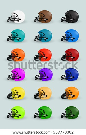 isolated american football helmet color set design stock vector
