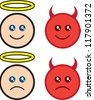 Isolated angel and devil characters happy and sad - stock vector