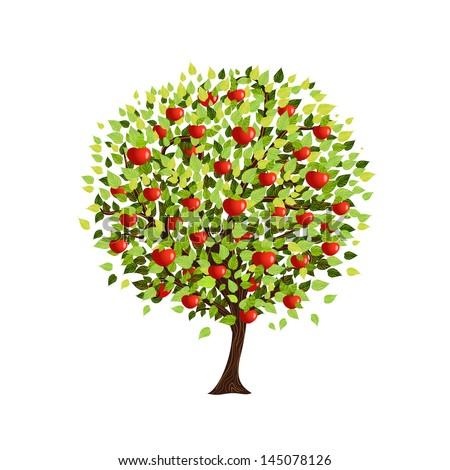 Isolated apple tree for your design - stock vector