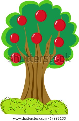 isolated apple tree on white background - stock vector