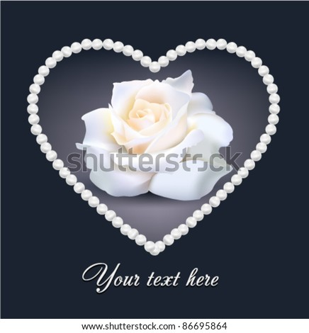 Isolated Beautiful Vector Wink Rose in the Pearl Heart isolated on background - stock vector