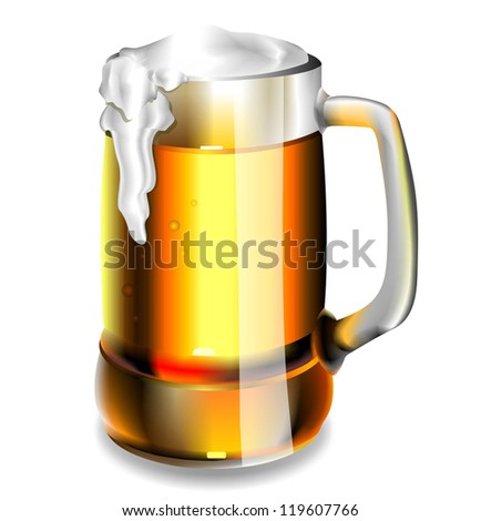 Isolated beer glass. Vector. EPS 10 - stock vector