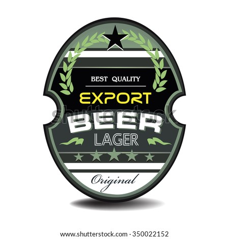 Isolated beer label with the text export lager beer written on the label