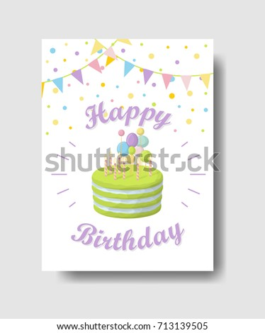 Isolated Birthday Card Greetings Cute Decorations Stock Vector