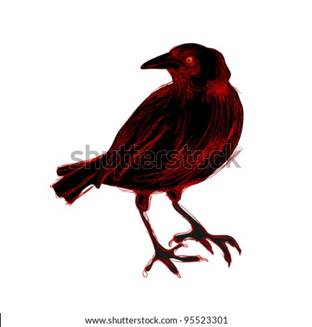 Isolated black and red crow, free hand drawing style - stock vector