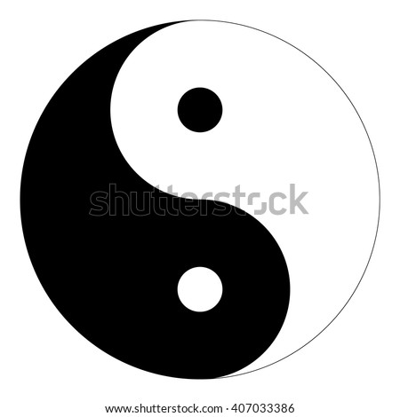 "Isolated black and white ""Yin Yang"" symbol of harmony and balance in Chinese philosophy on a white background - Eps10 Vector graphics and illustration - stock vector"