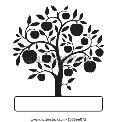 Isolated black apple tree on white background with a text frame. Vector illustration.