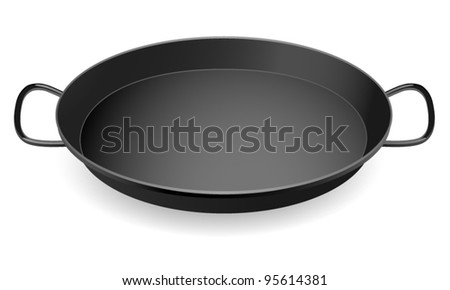 Isolated Black Food plate (pan). Vector illustration on white background