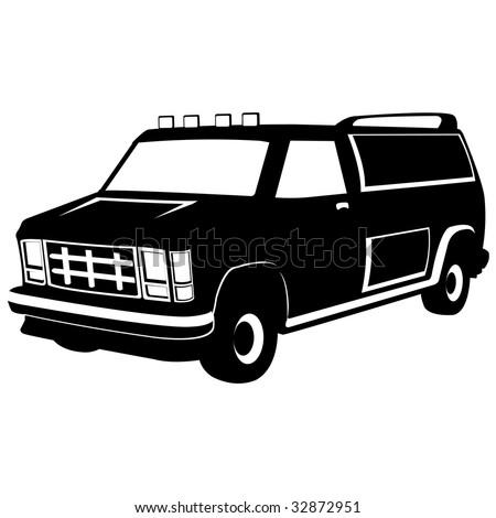 isolated black minivan , vector illustration - stock vector