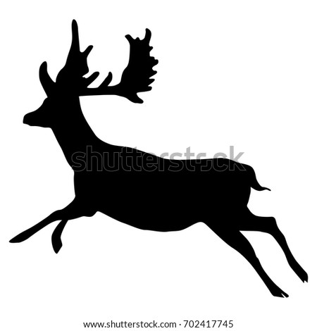 isolated black silhouette of a running deer