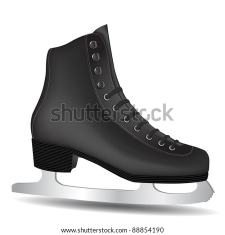Isolated Black Skate on a White Background - stock vector