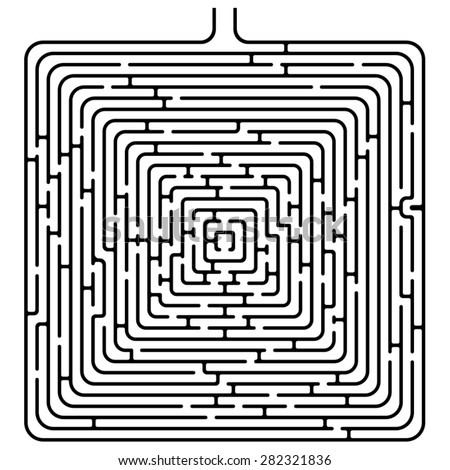Isolated black square maze, solution on a hidden layer - stock vector