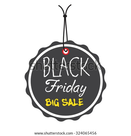 Isolated black tag with the text Black Friday Big Sale written in white and yellow - stock vector