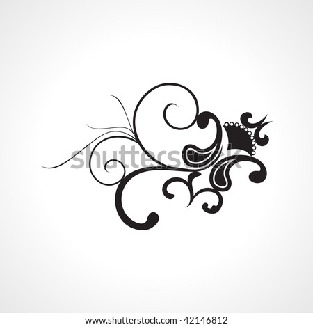 isolated black tattoo with white background