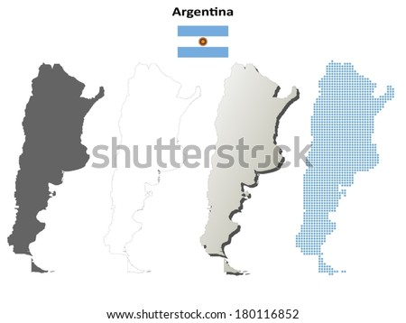 Isolated blank contour maps of Argentina - vector version - stock vector