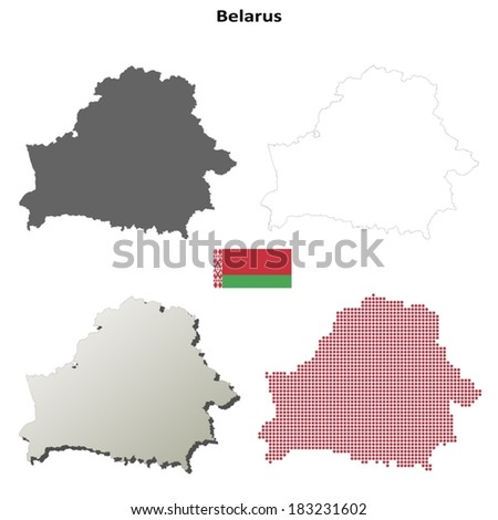 Isolated blank contour maps of Belarus - vector version - stock vector