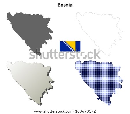 Isolated blank contour maps of Bosnia and Herzegovina - vector version - stock vector