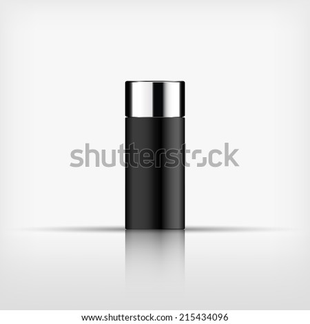 Isolated blank cosmetic black bottle with silver cap on white background (vector)  - stock vector