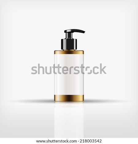 Isolated blank cosmetic black pump top bottle with black cap on white background (vector) - stock vector