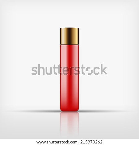 Isolated blank cosmetic red bottle with gold cap on white background (vector)  - stock vector