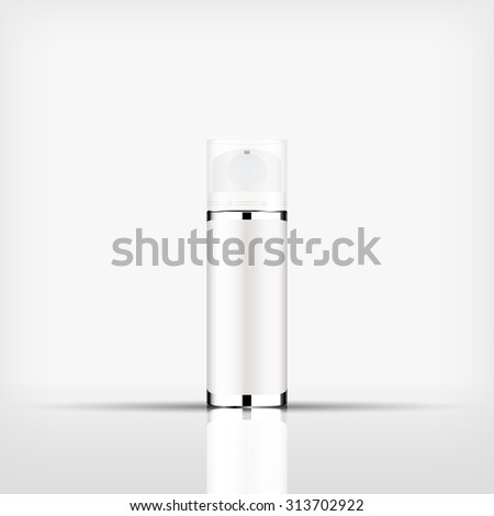 Isolated blank cosmetic silver bottle with Airless Pump cap on white background (vector)