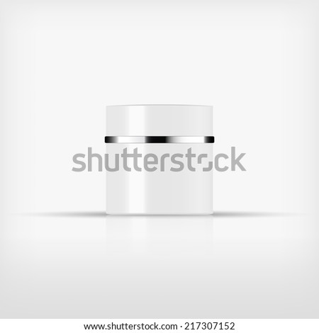 Isolated blank cosmetic white bottle with silver band on white background (vector)