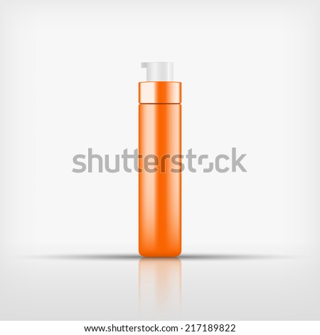 Isolated blank orange cosmetic white pump top bottle on white background (vector)
